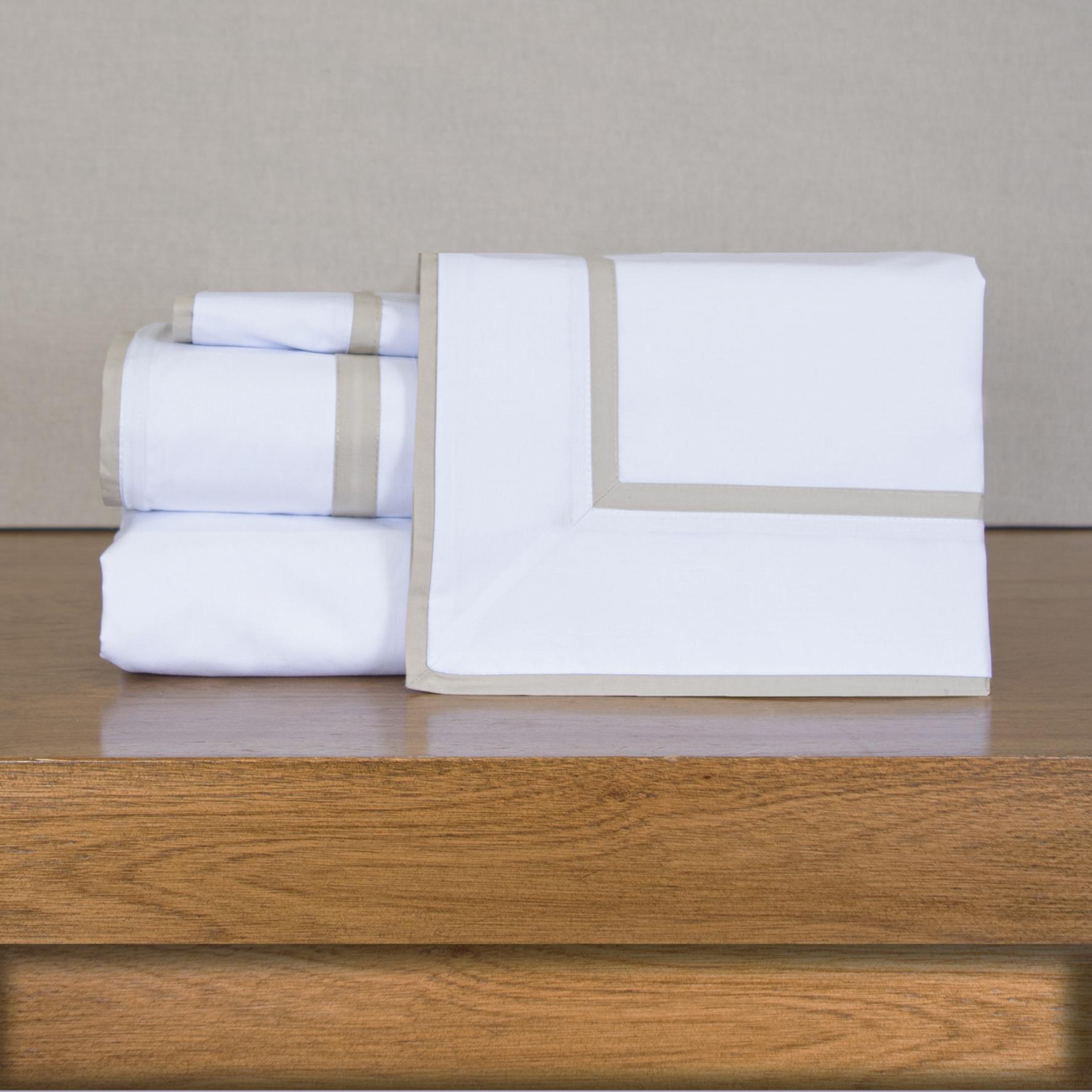 Juego de Sábanas 200 hilos Basic color Block Blanco Beige