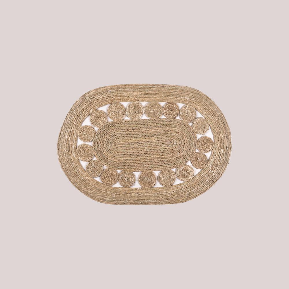 Alfombra fibra natural/ovalada calada